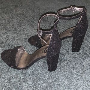 Guess Shoes - Guess Black Glitter Chunky Heel